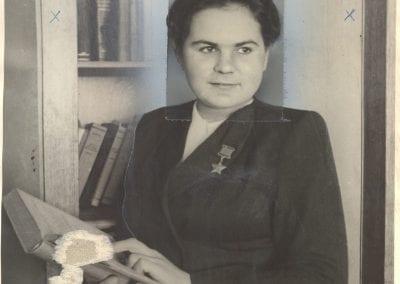 V. Stepanenko, Hero of the Soviet Union Skaterina Riabova, February, 1948, gelatin silver print.