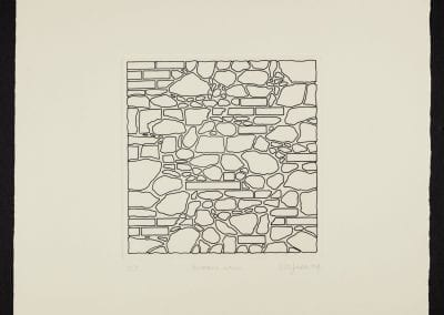 Margaret Priest, The Construction Series: The Monument to Construction Workers - Rubble Wall, 1994, etching on paper, P.P. ed. of 7, 50.8 x 50.2 cm. Collection of the MacLaren Art Centre. Gift of Stu Oxley, 2000.