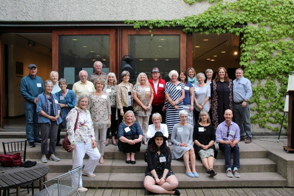 A group of MacLaren Art Centre volunteers gathered in the Massie Family Courtyard