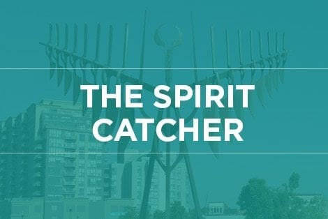 "Button linking to ""The Spirit Catcher"" webpage"