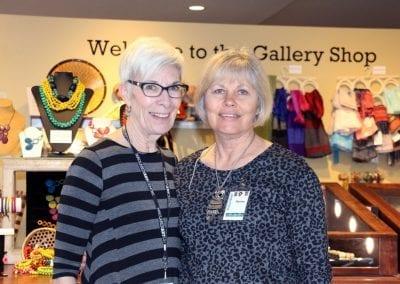 MacLren Art Centre volunteers at the Gallery Shop front desk