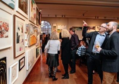 MacLaren Art Centre Benefactors looking at artwork at the Benefactor Art Exchange event