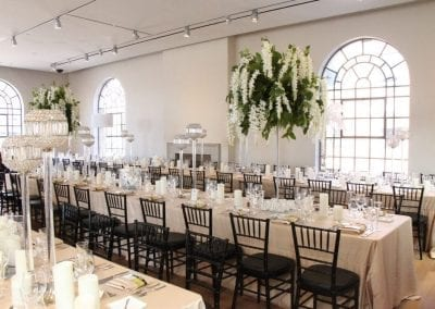 Wedding dinner decor in the Carnegie Room of the MacLaren Art Centre