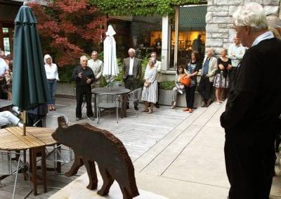 Artist-led exhibition tour in the MacLaren Art Centre courtyard patio