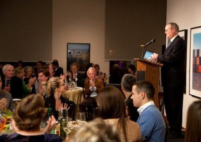 Guest speaker reading book excerpt at the MacLaren Art Centre Legacy Dinner event