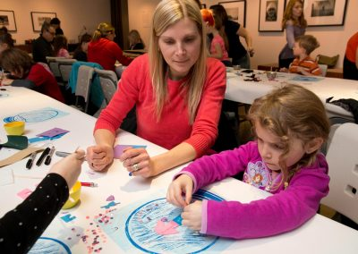 Mother and daughter participating in an art workshop at the MacLaren Art Centre