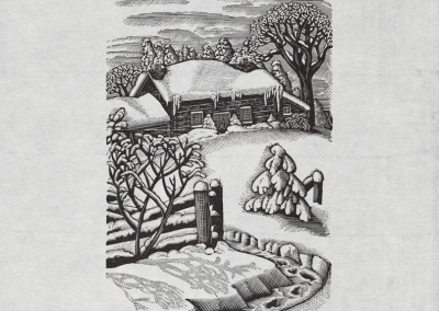 Lucille Oille, Untitled (log house in winter with tree to the right of the home), 2002, woodblock print, 26 x 20.8 cm. Collection of the MacLaren Art Centre. Photo: André Beneteau
