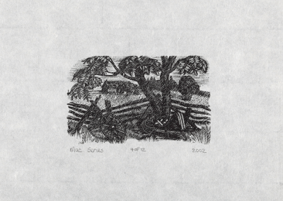 Lucille Oille, Untitled (rainy scene with sled under tree and house in the background), 2002, woodblock print, 17 x 20.6 cm. Collection of the MacLaren Art Centre. Photo: André Beneteau
