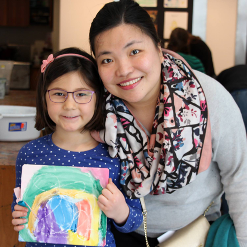 Mother and daughter participating in art activity at the MacLaren Art Centre