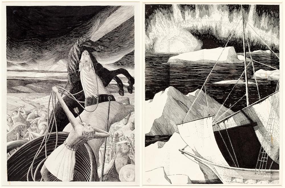 Bertram Brooker, Ahab's Death (Elijah Series), 1929, pen and ink on paper, 38 x 25.4 cm. Collection of the MacLaren Art Centre. Photo: André Beneteau (left); Bertram Brooker, Ice Bound Ship (Ancient Mariner Series), 1930, pen and ink on paper, 29.8 x 18.4 cm. Collection of the MacLaren Art Centre. Photo: André Beneteau (right)