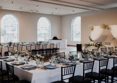 Wedding dinner decor in the Carnegie Room at the MacLaren Art Centre
