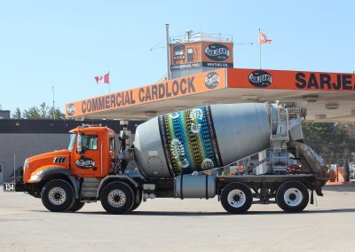 Sarjeant Company concrete truck with artwork from the Sarjeant Co. Design Project