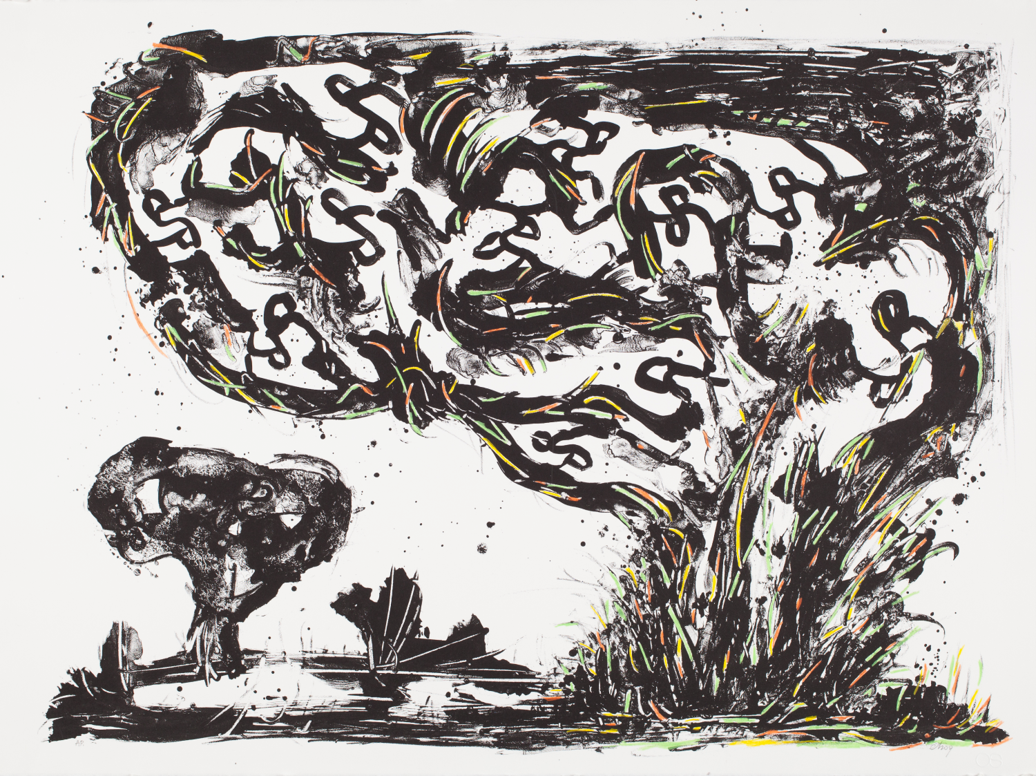 Sorel Etrog, Trees, 1969-97, hand coloured serigraph on paper. Collection of the MacLaren Art Centre. Gift of the artist, 1998. Photo: Andre Beneteau