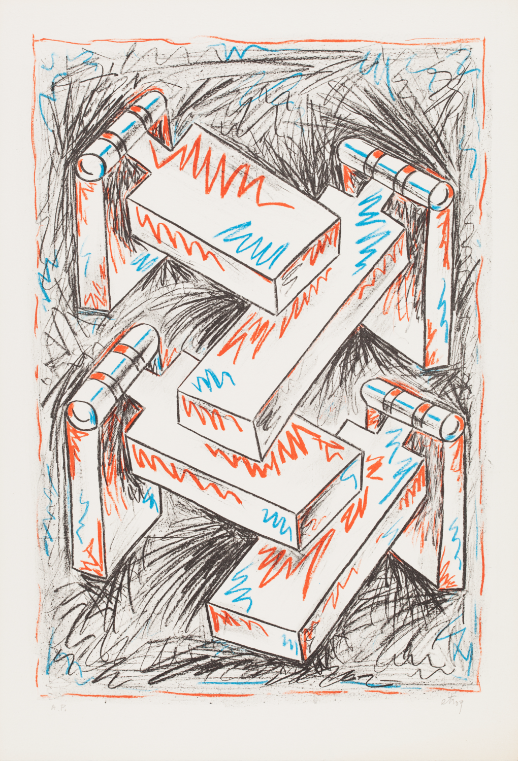 Sorel Etrog, Hingescape I, 1978, lithograph on paper, A.P. Collection of the MacLaren Art Centre. Gift of the artist, 1999. Photo: Andre Beneteau