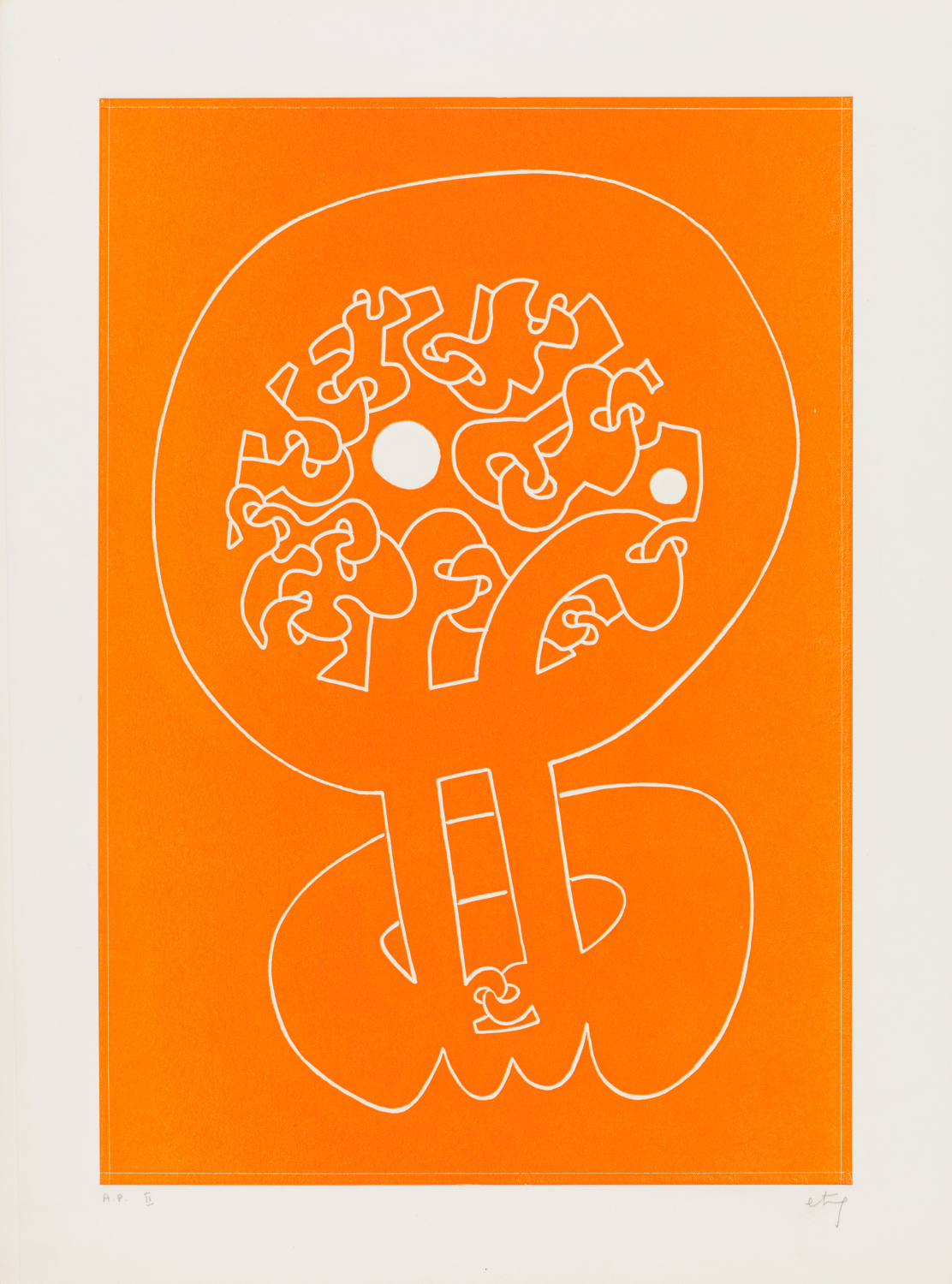 Sorel Etrog, Untitled Orange, 1965, intaglio on paper, A.P. II. Collection of the MacLaren Art Centre. Gift of the artist, 1999. Photo: Andre Beneteau