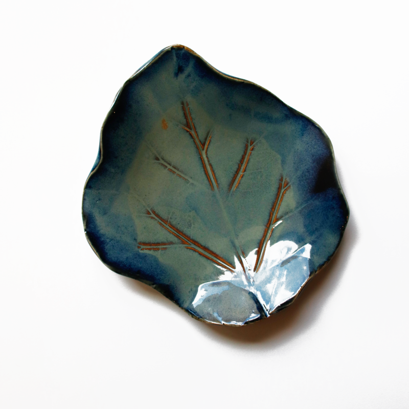 Leaf Plate in the colours blue and green from the Gallery Shop.