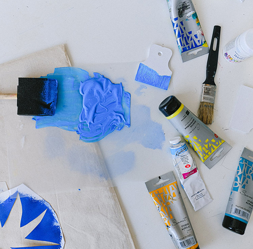 Mixed paint and printmaking supplies