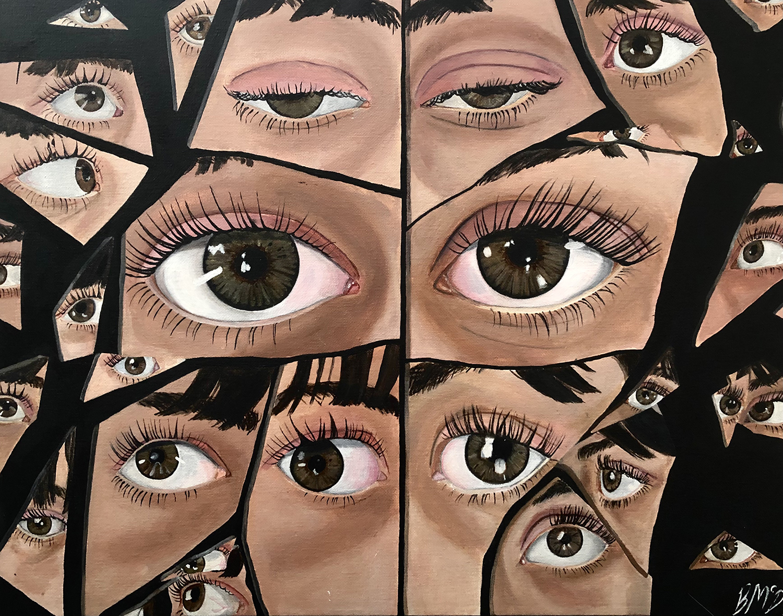 Who Am I? by Breanna McDonald, acrylic on canvas - Innisdale Secondary School