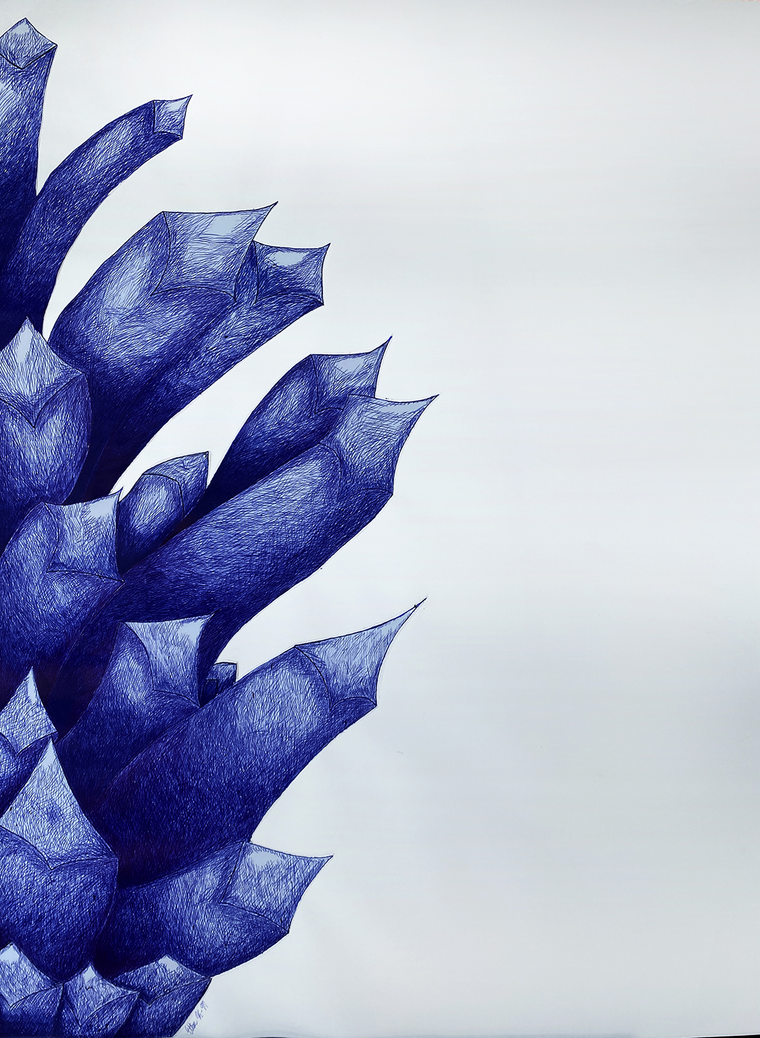A Blue Pinecone by Ethan Kennedy-Munsterman, ballpoint pen on paper - Banting Memorial High School