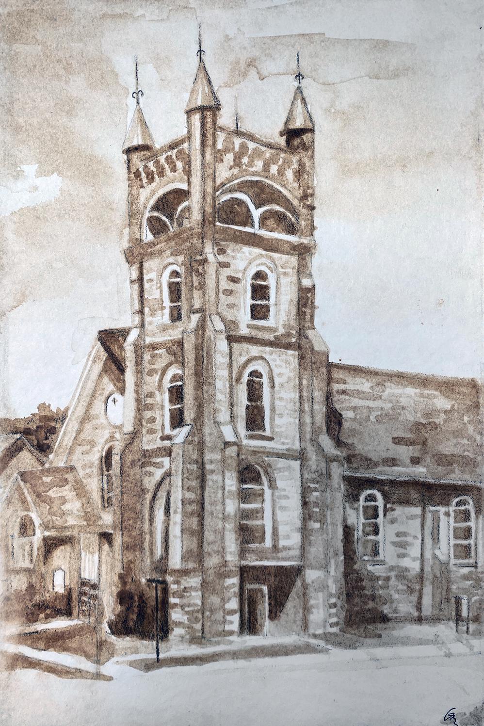 Tottenham United Church by Gwen Elmhirst, soy sauce on paper - Banting Memorial High School