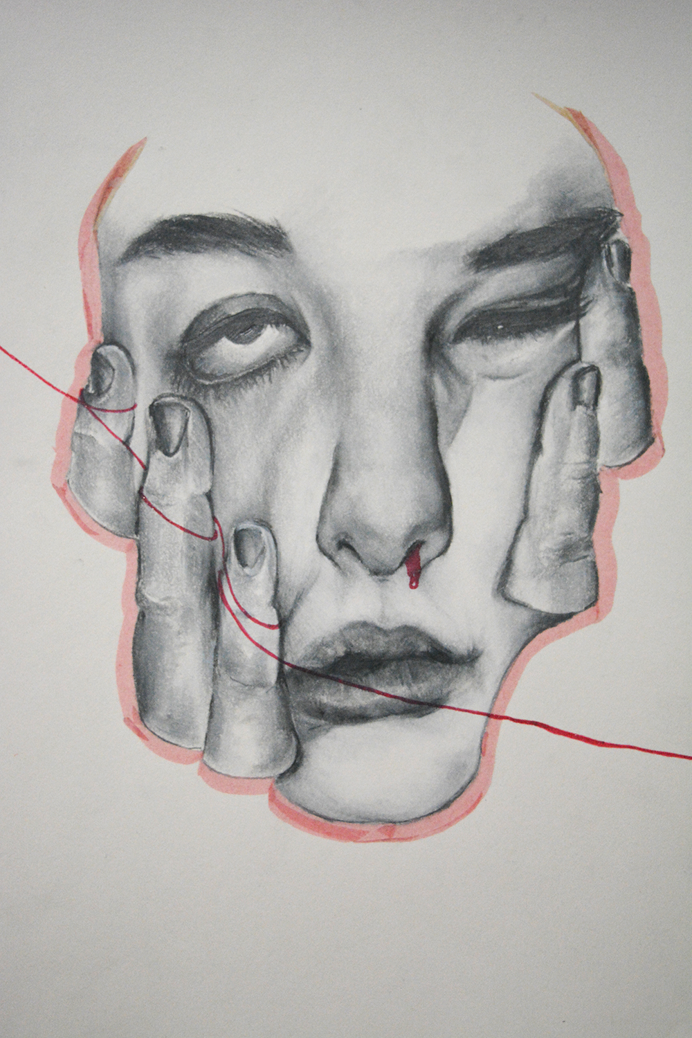 Bound to the String by Kaitlyn Fasano, water markers and pencil on paper - Nantyr Shores Secondary School
