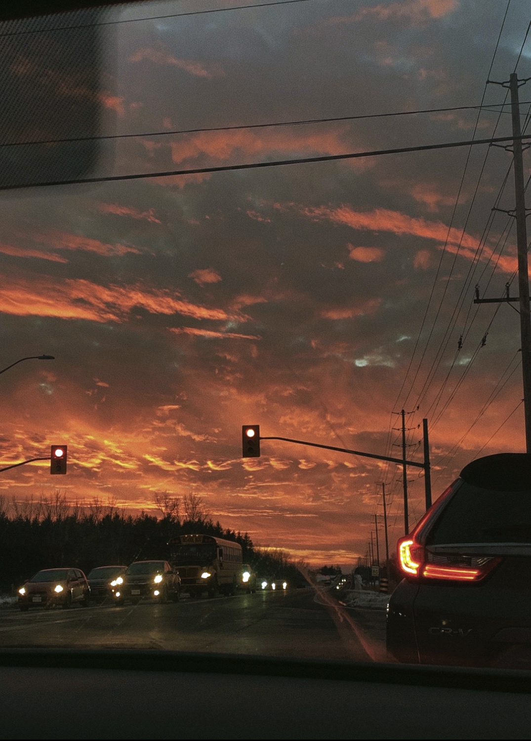 The Beauty of Nature: Sunset and Cars by Madison Dwyer, digital photograph - Nantyr Shores Secondary School