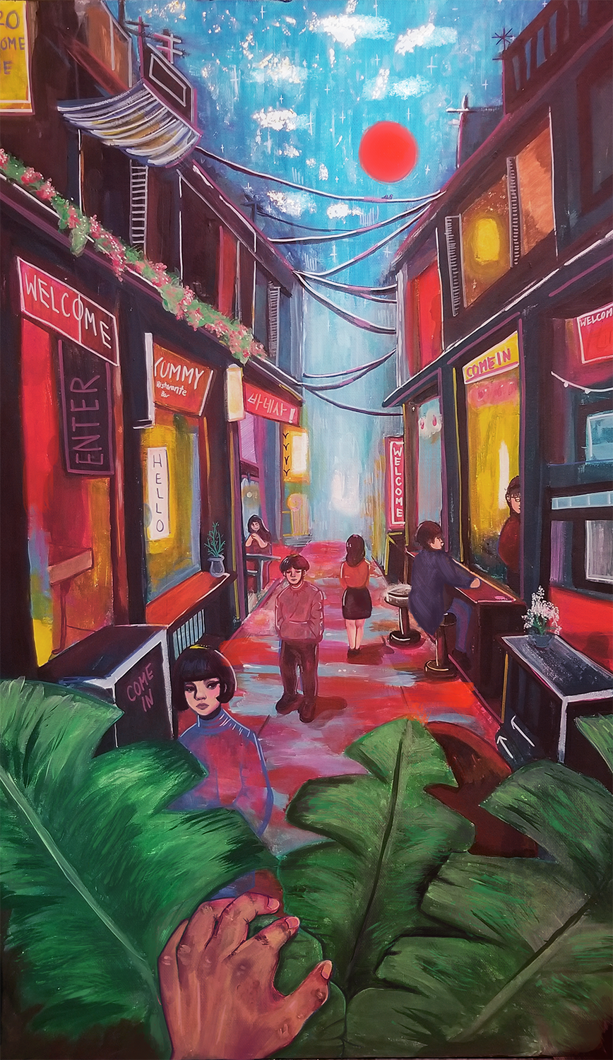 Night Market by Vanessa Namseang, acrylic, marker, gold-leaf and ink on canvas - Nantyr Shores Secondary School