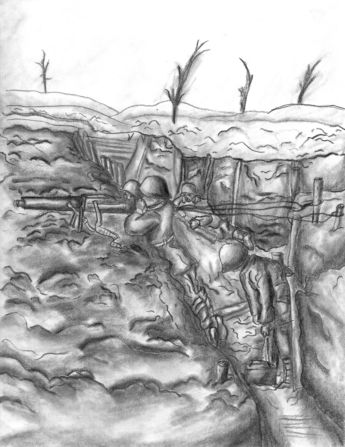 Carnage of War by Zach Blackley, graphite on paper - Innisdale Secondary School
